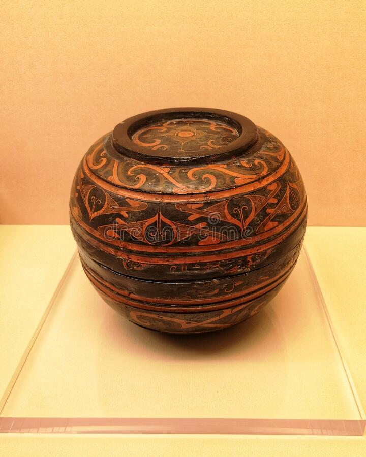 Antique lacquer ware van Qin Dynasty, China stock fotografie