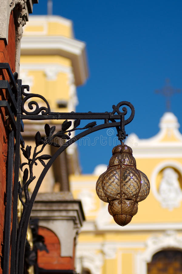 Free Antique Lamp And Cathedral, Sorrento, Italy Royalty Free Stock Image - 10109066