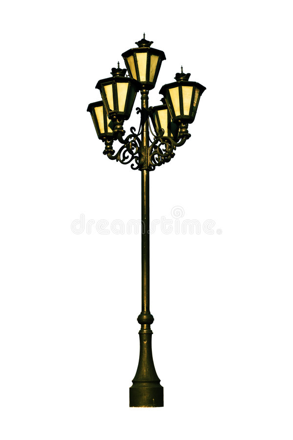 Antique lamp post. An antique lamp post on a white background stock photo