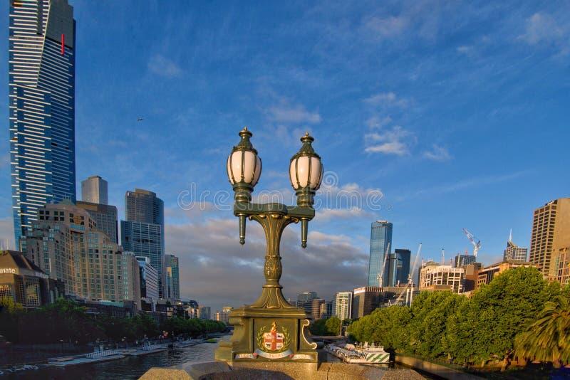 Antique lamps on the Princes Bridge Melbourne Australia stock image