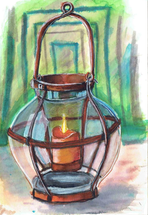 Antique lantern with a candle. Work done with a marker.Старый подсвечник. Antique lantern with a candle stock illustration