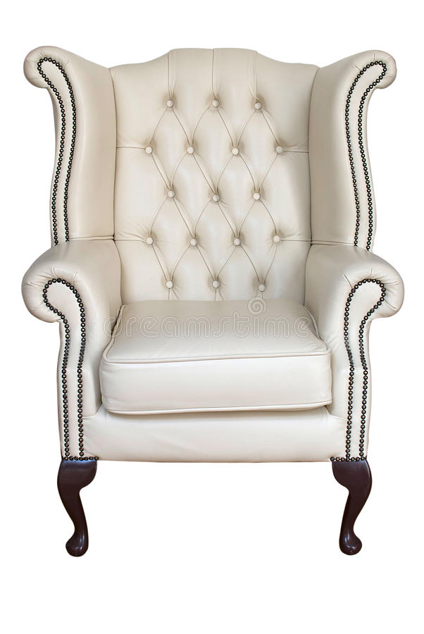 Antique leather armchair stock image
