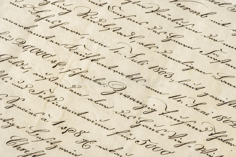 Antique letter with calligraphic handwritten text. Grunge paper. Antique letter with calligraphic handwritten text. Grunge vintage paper background royalty free stock photo