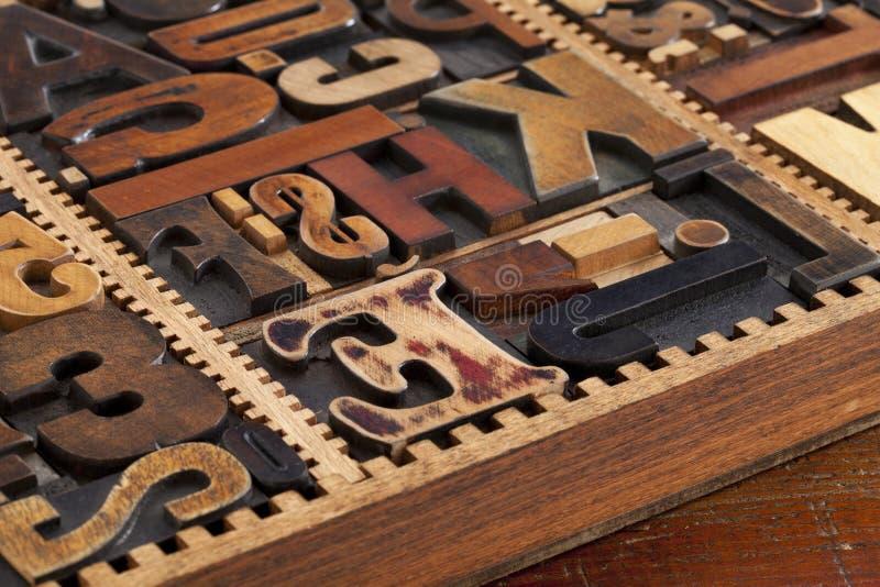 Antique letterpress prinitng blocks royalty free stock photo