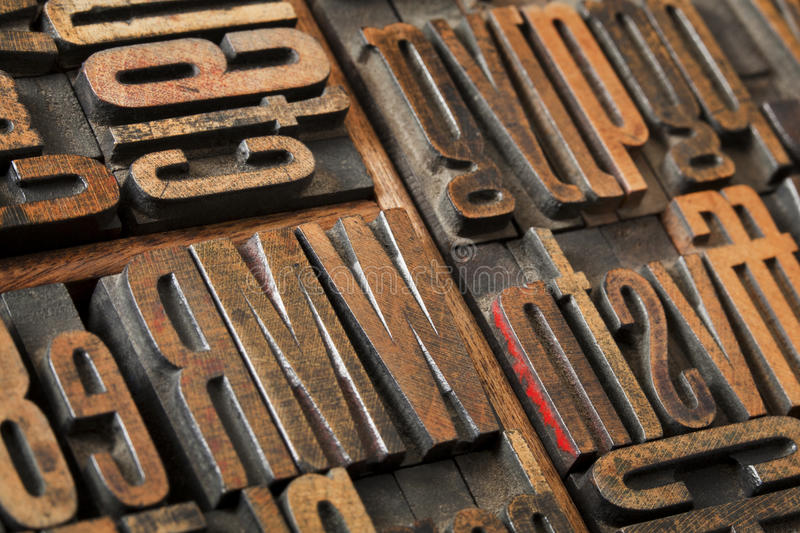 Antique letterpress type abstract stock image