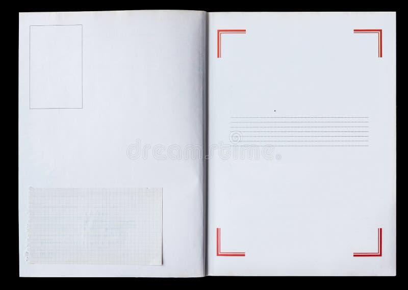 Antique livre déplié montrant des pages texturées image libre de droits