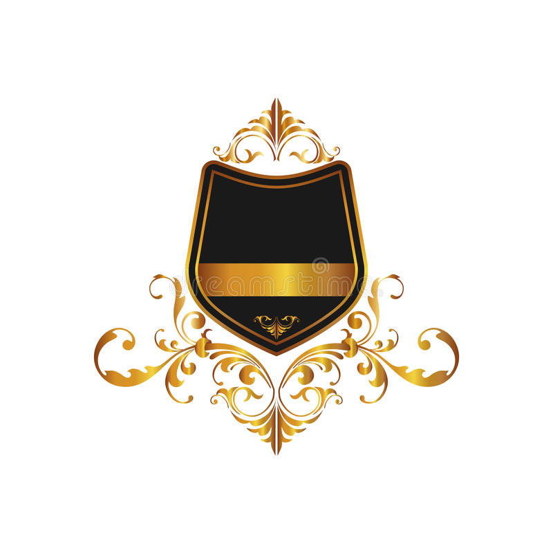 Antique Luxury High Ornate Frame And Banner. Isolated on background. Herald logo and Shield symbol for your web site design, logo. royalty free illustration