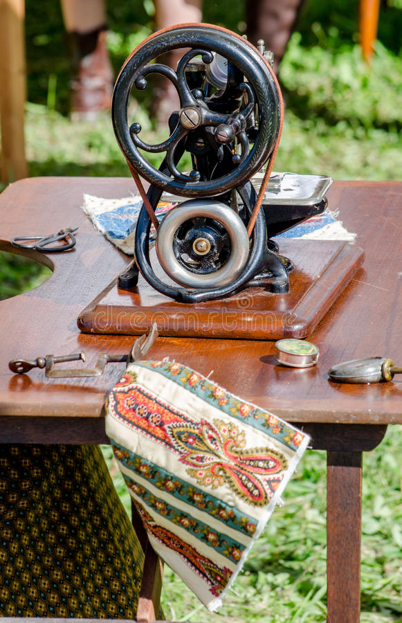 antique machine sewing machine stock photo