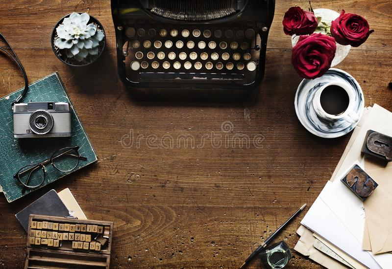 Antique manual typewriter stock photo