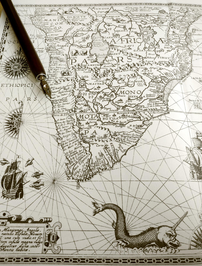 Free Antique Map And Manuscript Pen Royalty Free Stock Photo - 14065155