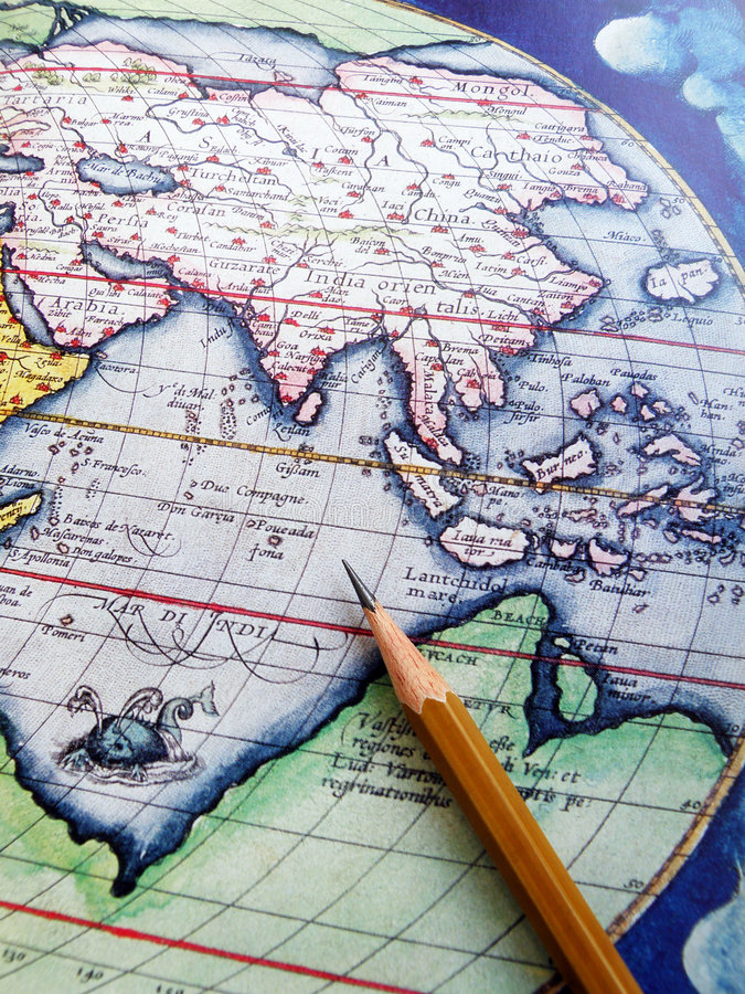 Antique map Asia. An old aged antique map showing the entire asian region. Horizontal color format. Ancient map with high degree of inaccuracy. Pencil placed on stock photography
