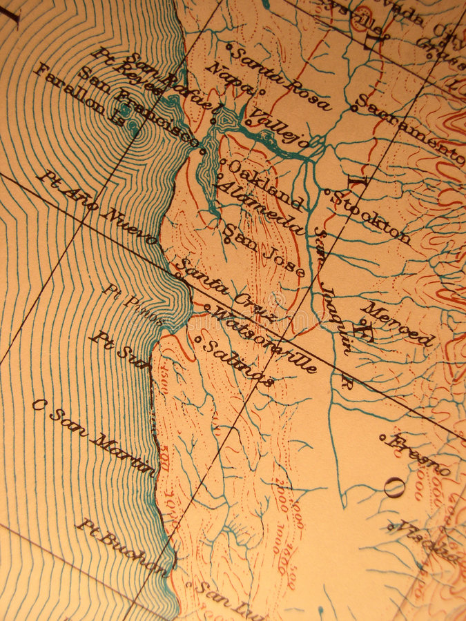 Download Antique Map Centered On Califo Stock Photo - Image: 3004970