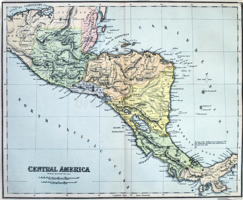 Antique Map of Central America. Victorian era map of Central America originally published in 1880 royalty free stock photos