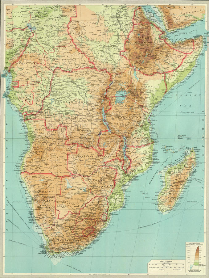 Antique map of Central & Southern Africa. From Atlas by Bartholomew and Son, 1922 stock images