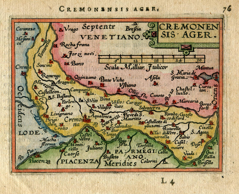 Antique Map Cremonsis Ager. Cremona. Italy stock photos