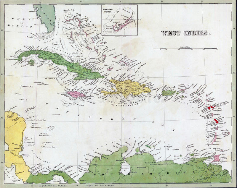 Antique Map Of Cuba And The Caribbean Stock Photography