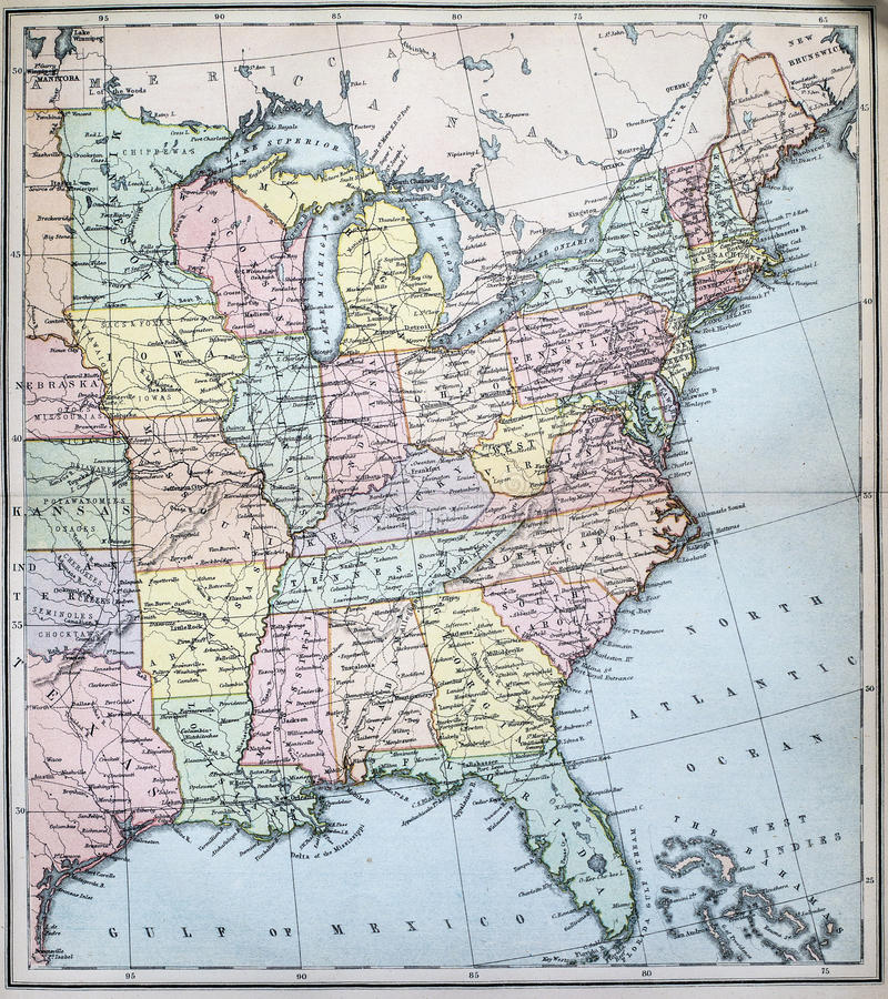 Antique Map Of Eastern States Of USA Stock Image Image Of - Map of the eastern states