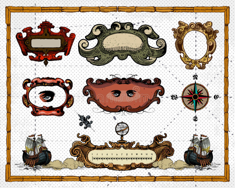 Download Antique Map Frame Decorations Stock Vector - Image: 18980078