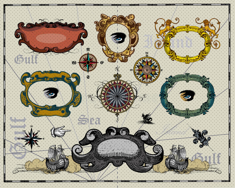 Download Antique Map Frame Decorations Stock Vector - Illustration of grunge, adventure: 18980095