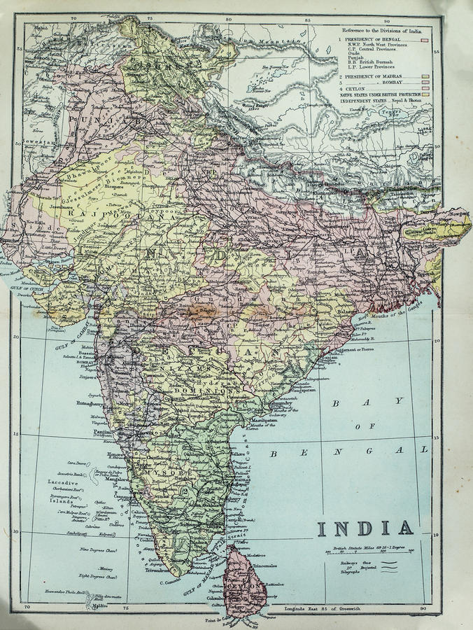 Antique Map of India. Victorian era map of India originally published in 1880 royalty free stock images