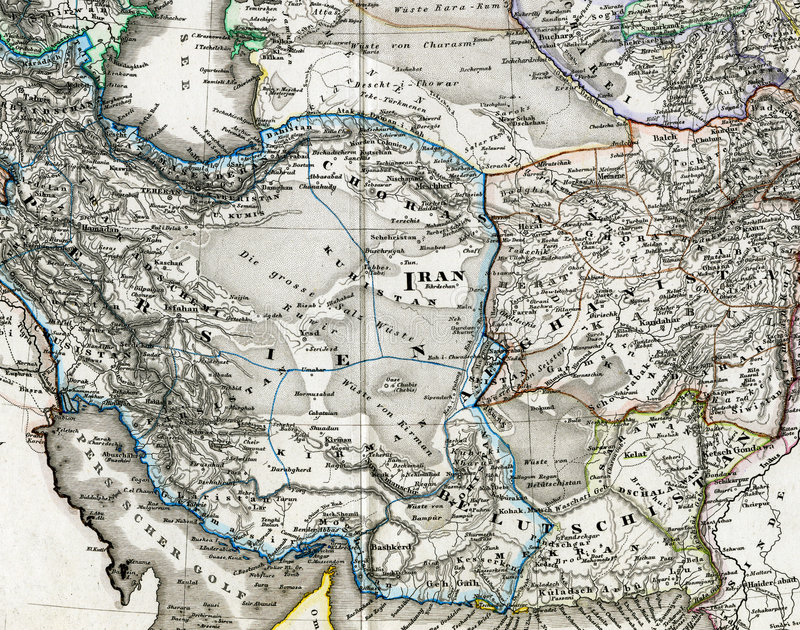 Antique Map Of Iran Afghanistan Stock Illustration Illustration of