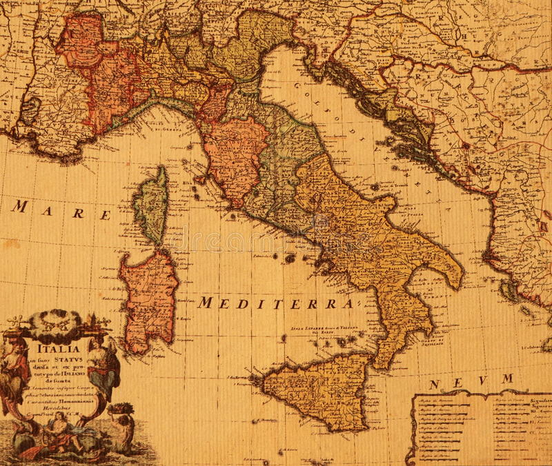 Antique map of Italy royalty free stock photography
