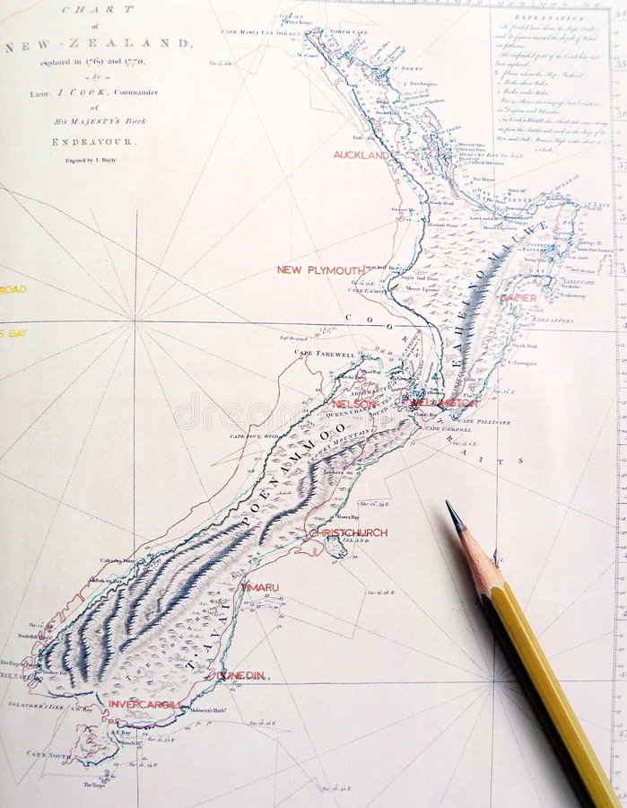 Antique map of New Zealand royalty free stock photos