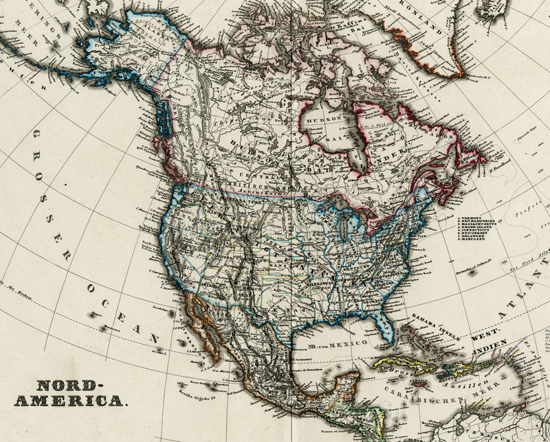 Antique map of North America 1875 vector illustration