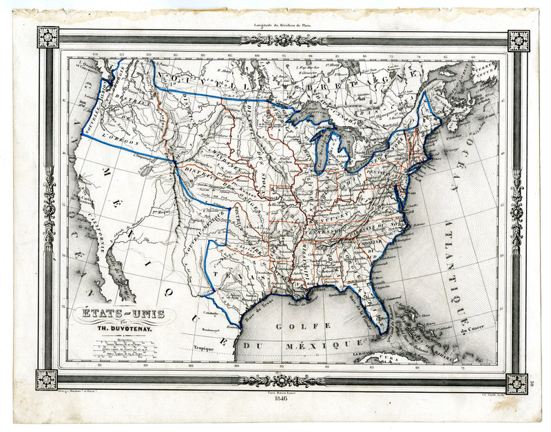 Antique Map Of United States In 1846