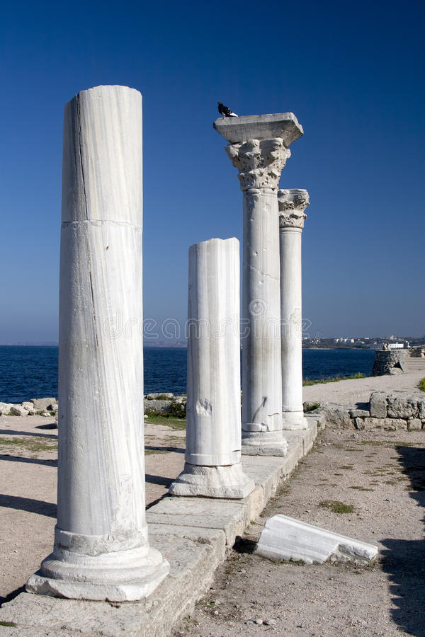 Antique marble columns of Chersonesus in Crimea stock images