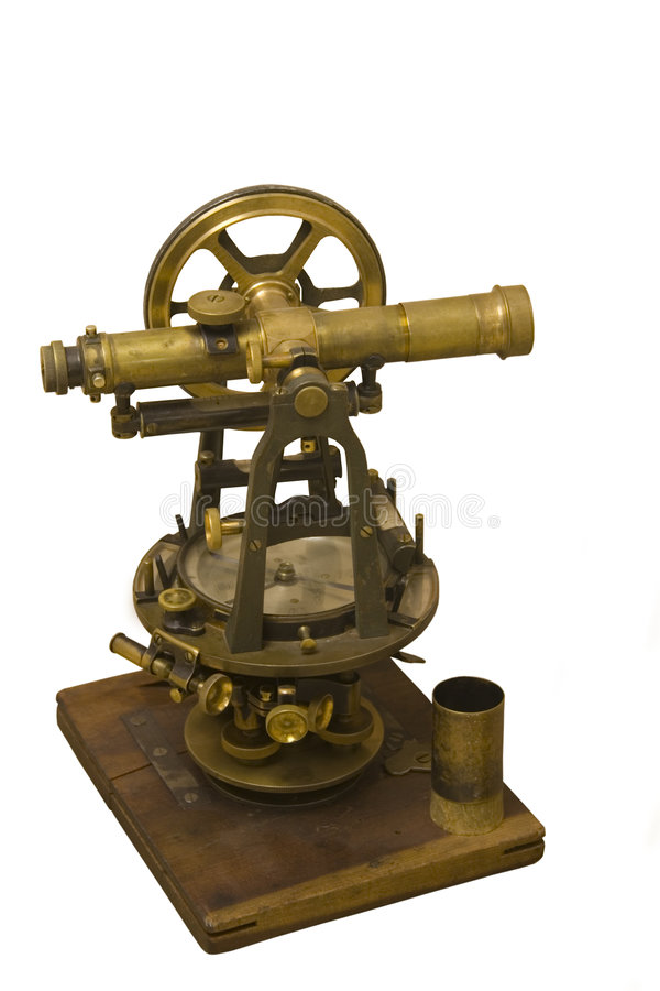 Antique measuring instrument of surveying and alignment stock image