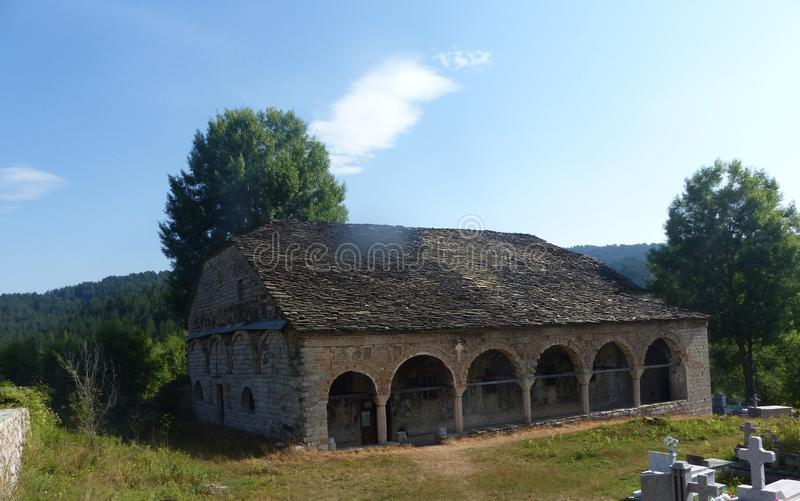 Antique medieval church of St. Athanasius, Voskopoje, Albania royalty free stock photography
