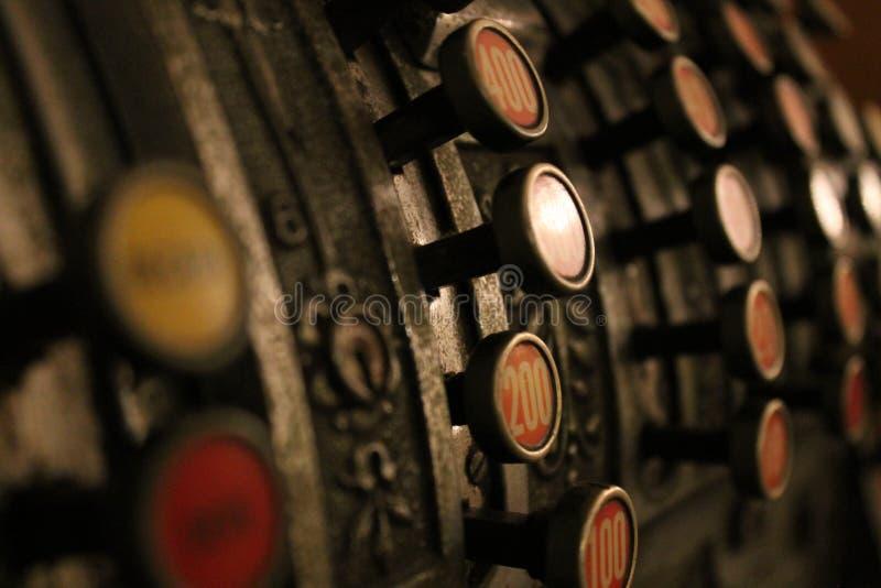 Antique metal cash register. Vintage royalty free stock images