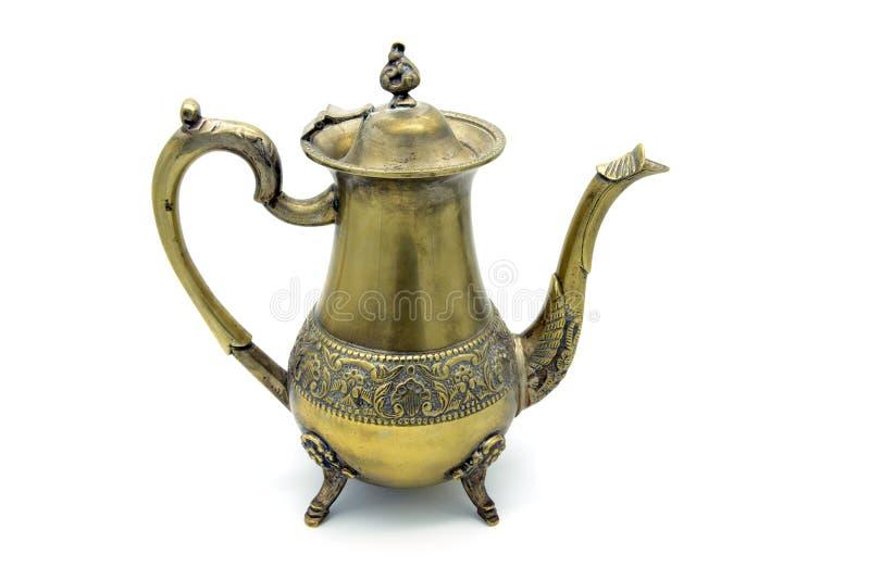 Antique metal coffee pot on white background stock photos