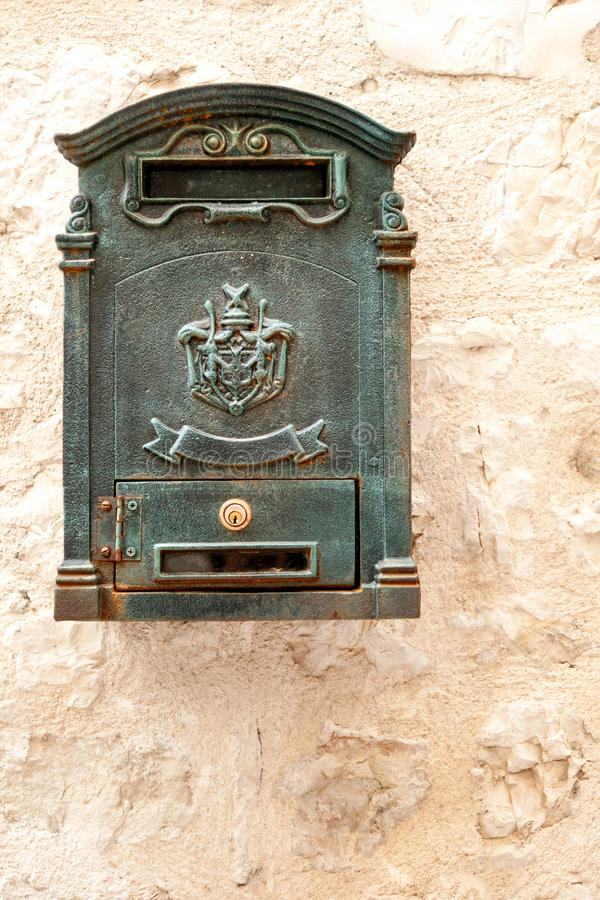 Antique metal postbox stock images