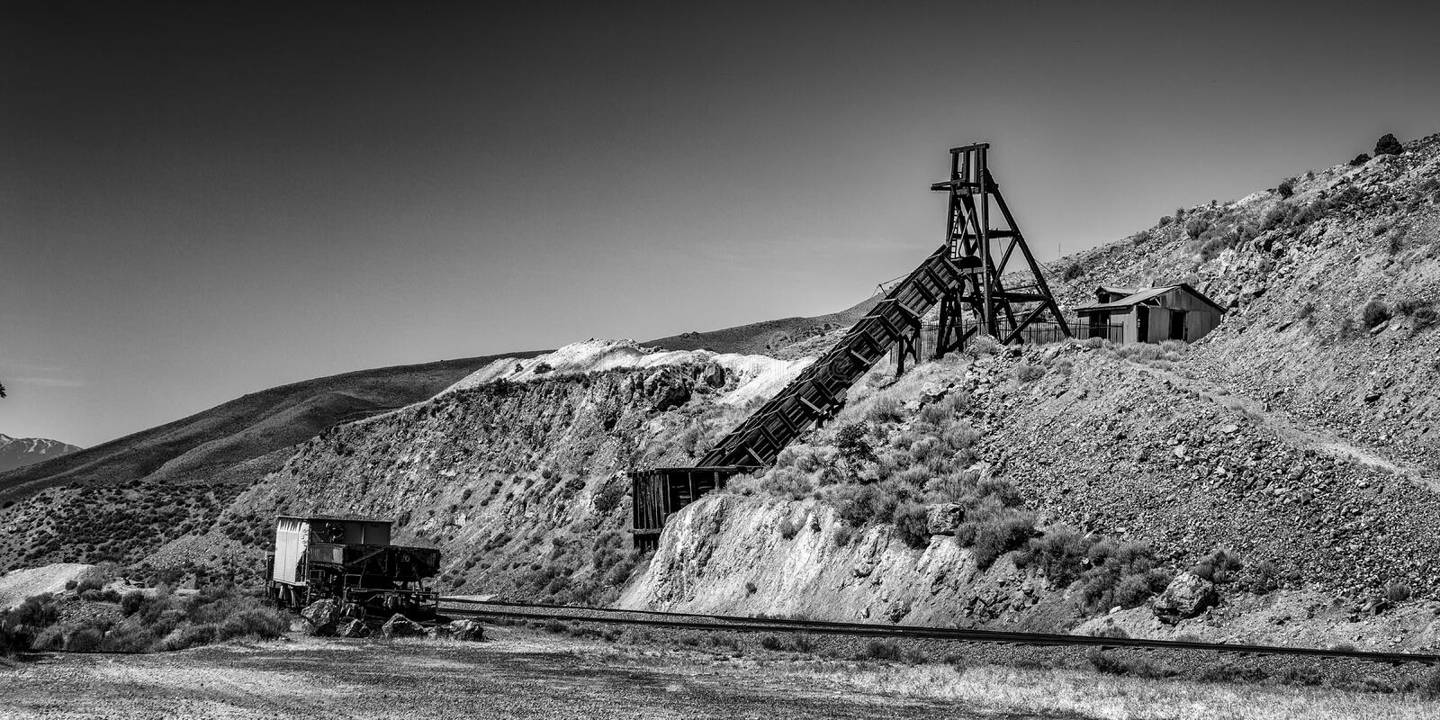 Antique mine head with and Ore Car stock photos