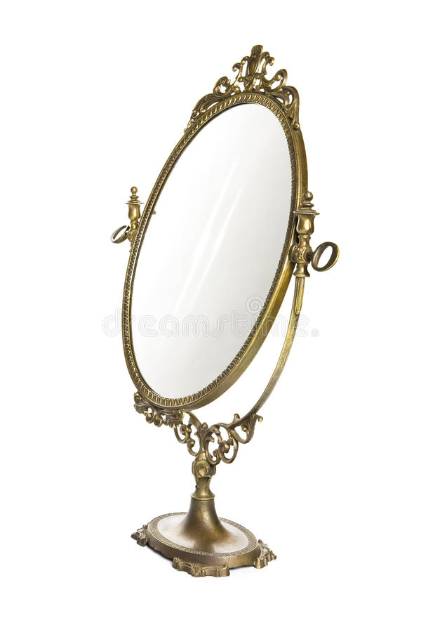 Antique mirror. On white background stock images