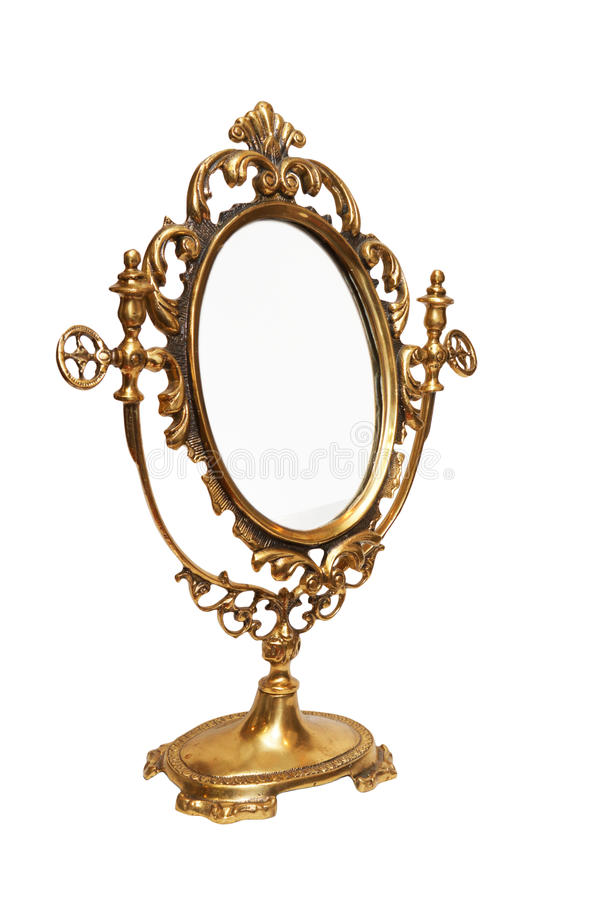 Antique mirror. Isolated on white royalty free stock photography