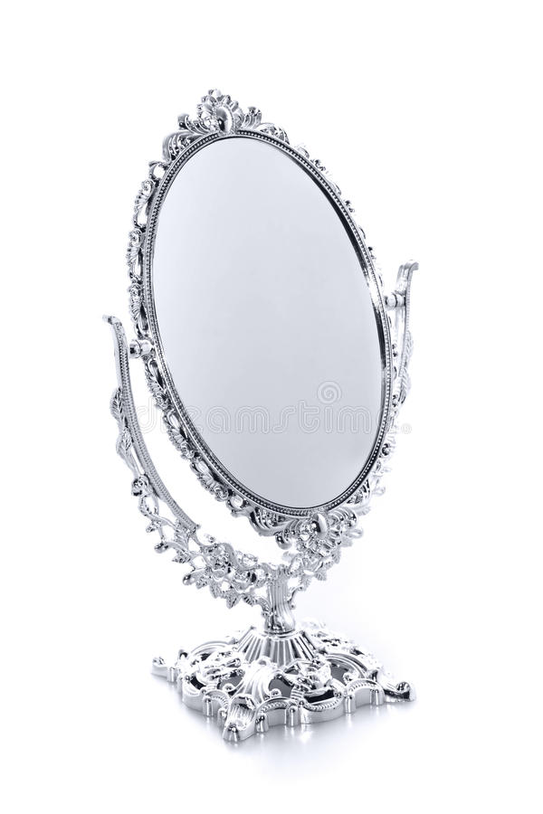 Antique Mirror. Silver Antique Mirror white background stock image