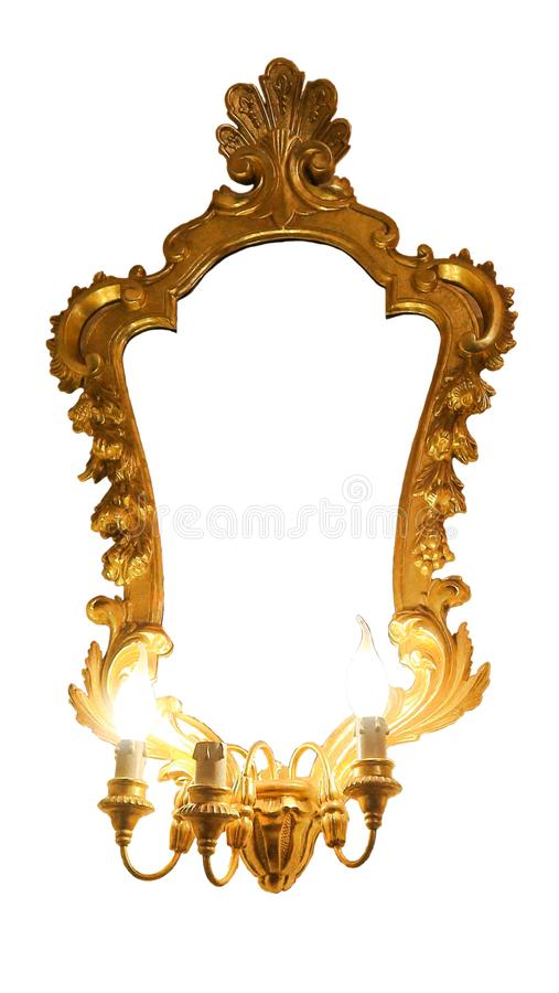 Antique mirror with frame on white. Antique mirror with golden wooden carved frame isolated stock photos