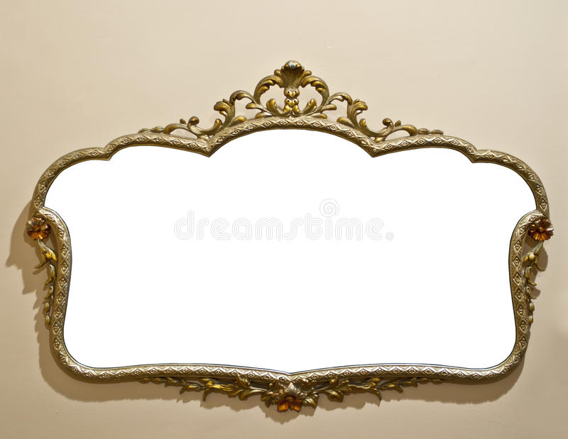Antique mirror on grunge wall. With space for your image or text stock photo