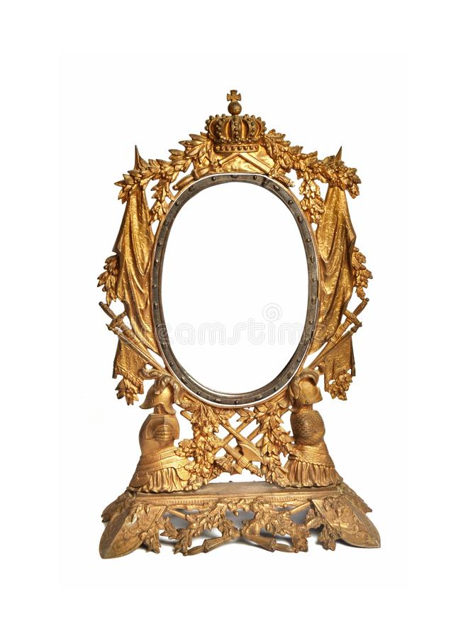 Antique mirror isolated. Golden antique mirror isolated on white background.  royalty free stock photography