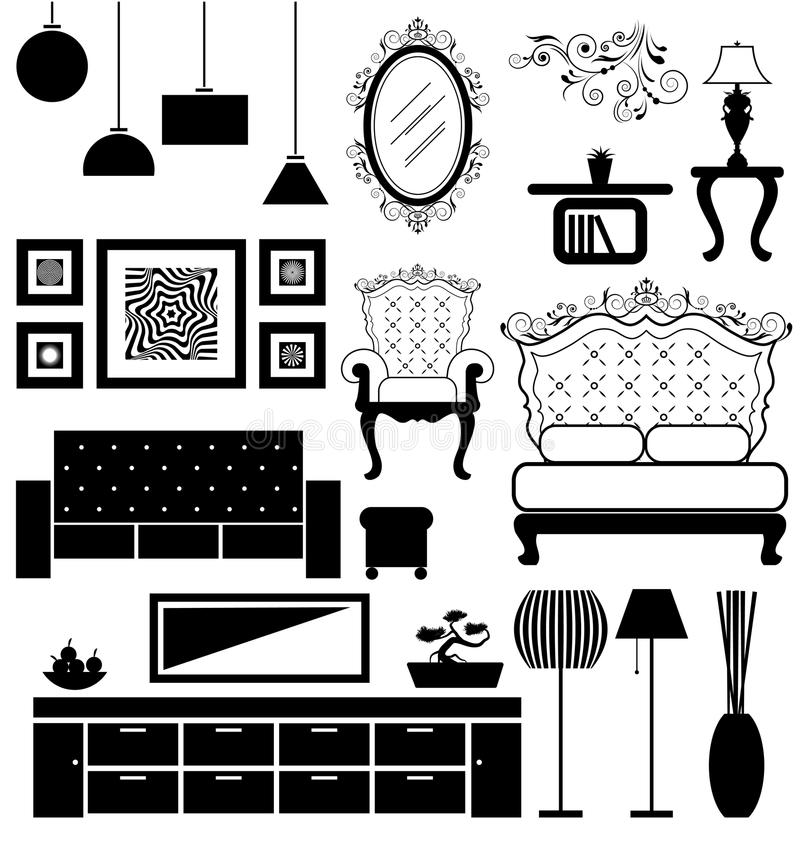 Antique And Modern Furniture Stock Vector