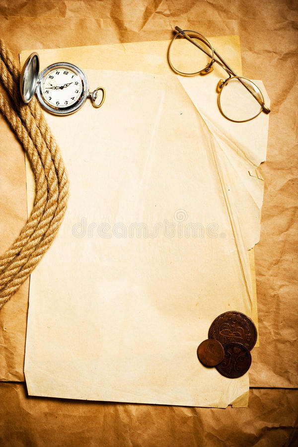 Antique money with watch royalty free stock photography