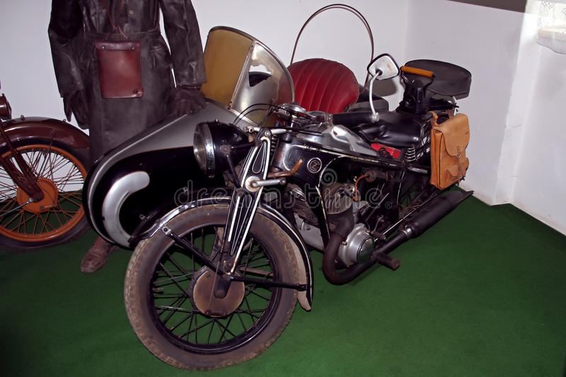 Antique motorcycle brand ČZ motorcycle museum stock image