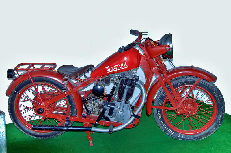 Antique motorcycle brand Wagner 500, 1929, motorcycle museum. royalty free stock photography