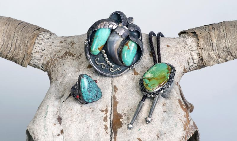 Antique Navajo Jewelry. royalty free stock image