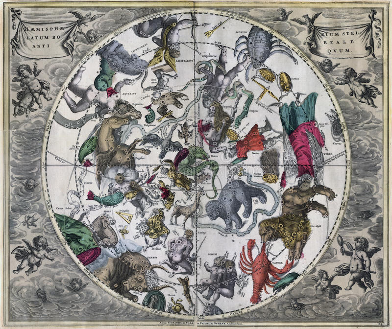 Vintage Northern Astronomical Celestial Map. Southern Astronomical Celestial Map of the Universe stock images