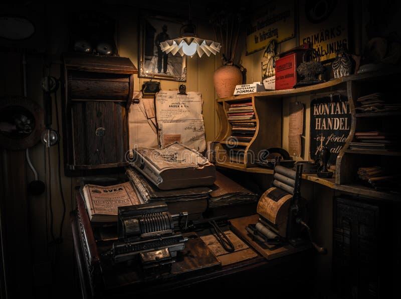 Antique office desk, Goteborg, Sweden. Antique office desk with papers in Goteborg, Sweden royalty free stock photo