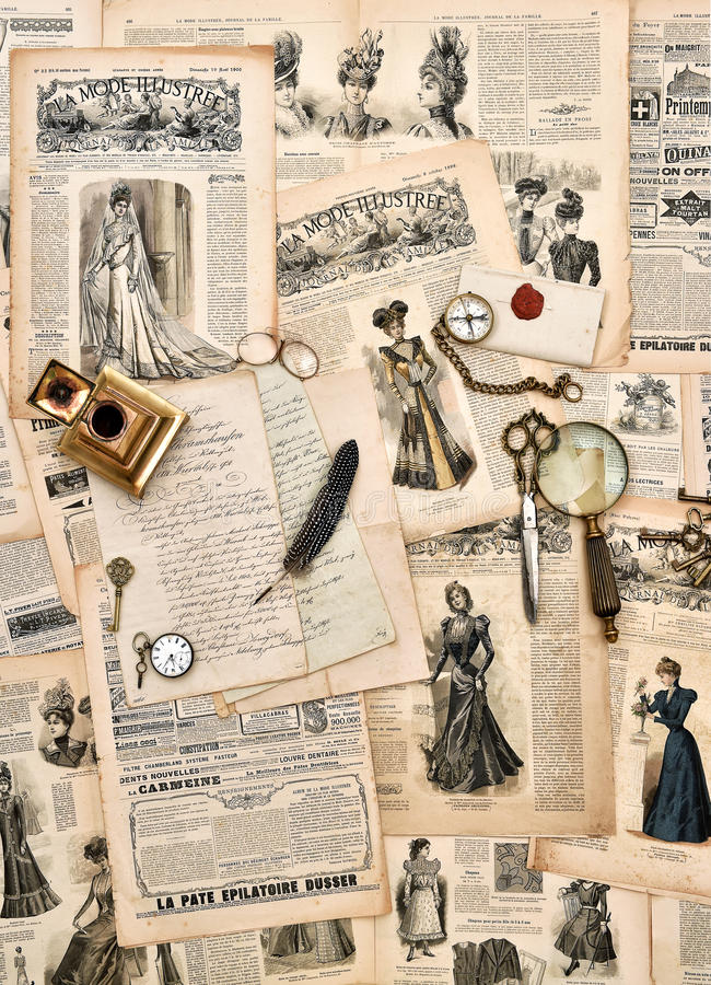 antique office supplies, old letters, writing tools, vintage fashion magazine royalty free stock photos